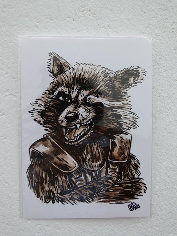 dibujo original rocket raccoon de natadpb ilustración